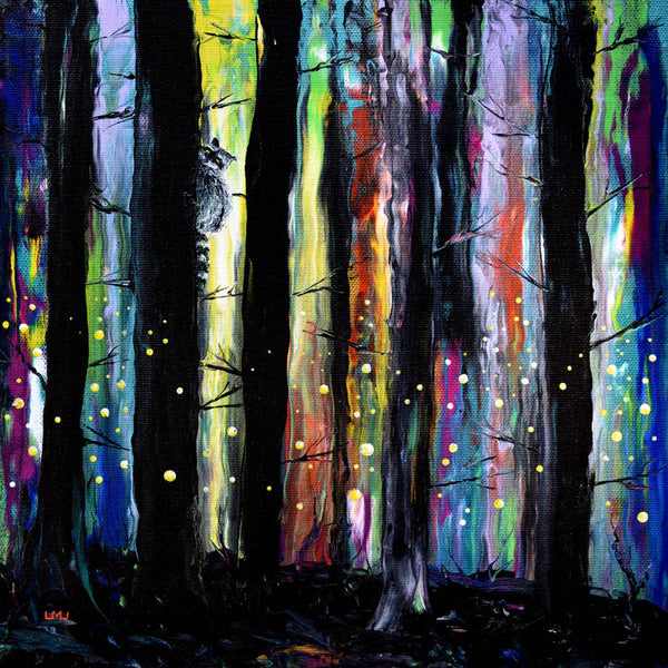 Raccoon and Fireflies Original Painting