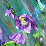 Sun on Hellebore Flowers After the Rain Original Painting - Laura Milnor Iverson Official Site