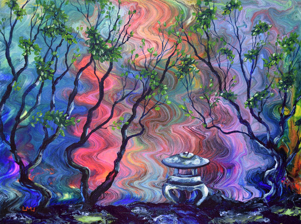 Peace Lantern by the Water Original Painting Laura Milnor Iverson Official Site