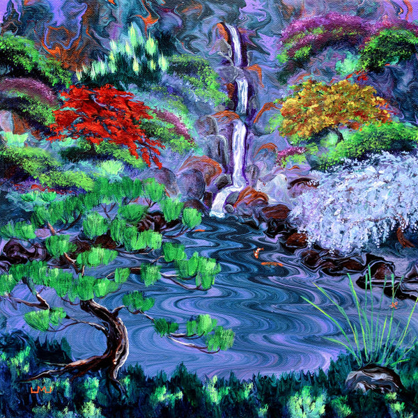 Wisteria by a Triple Waterfall Original Painting Laura Milnor Iverson Official Site