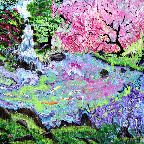Pink Tree and Waterfall Original Painting Laura Milnor Iverson Official Site