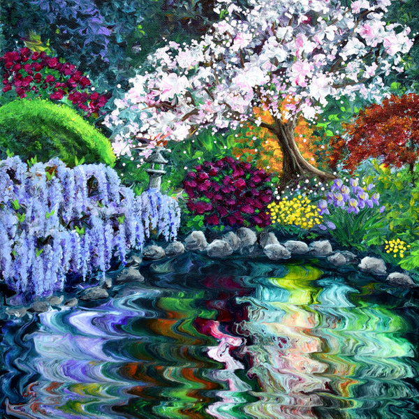 Blossoming Tree and Wisteria by a Pond Original Painting Laura Milnor Iverson Official Site