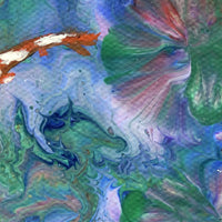 Koi Pond and Water Lilies Dream Original Painting Laura Milnor Iverson Official Site