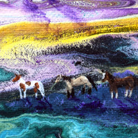 Wild Horses in Mountain Sunset Original Painting