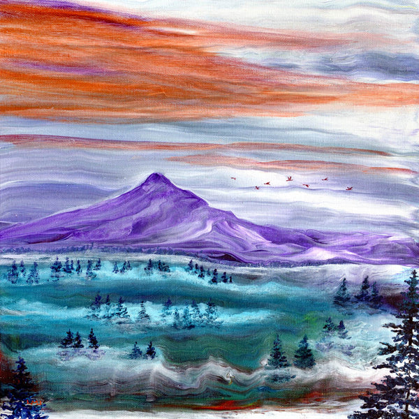 Misty Sunset over Mt. Hood Original Painting