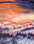 Misty Pacific Northwest Sunset Original Painting Laura Milnor Iverson Official Site