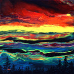 Sunset Over the Mountains Abstract Original Painting