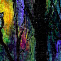 Owl in a Deep Dark Forest Original Painting
