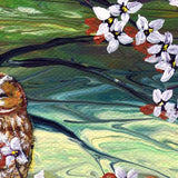 Sleepy Owls in Dogwood Blossoms Original Painting