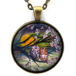 Sleepy Owls in Dogwood Blossoms Pendant Necklace - Laura Milnor Iverson Official Site