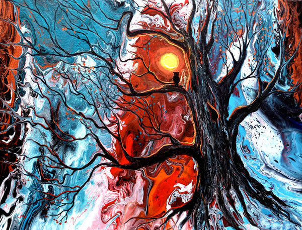 Owl in Spooky Old Tree Original Painting Laura Milnor Iverson Official Site