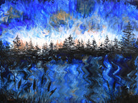 Pine Trees at Twilight in Blue and Copper Original Painting Laura Milnor Iverson Official Site