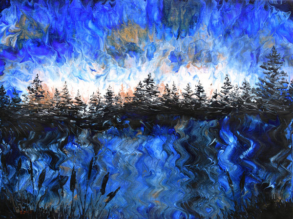 Pine Trees at Twilight in Blue and Copper Original Painting