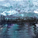 Pacific Northwest Lake in Shades of Green and Fuchsia Original Painting