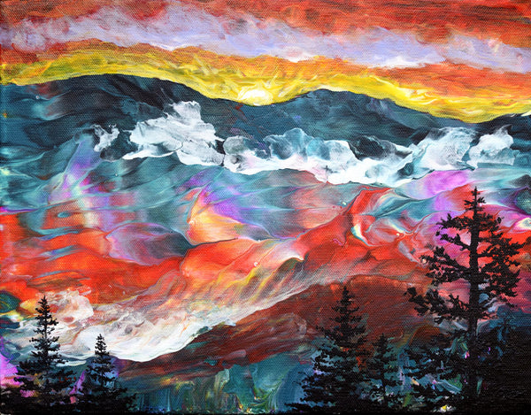 Sunset Over the Mountains Original Painting Laura Milnor Iverson Official Site