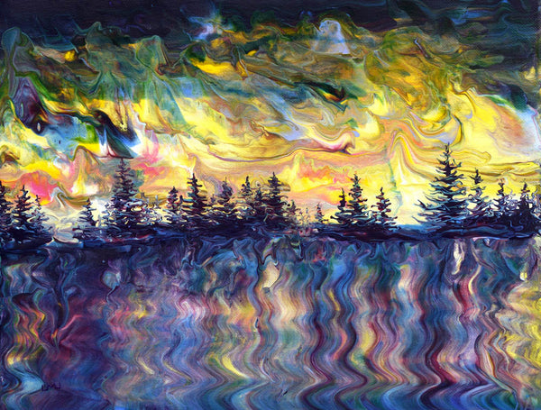 Pacific Northwest Sunset in Purple and Yellow Original Painting - SOLD Prints Available