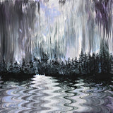 Shades of Grey Rain Storm Over a Lake Original Painting