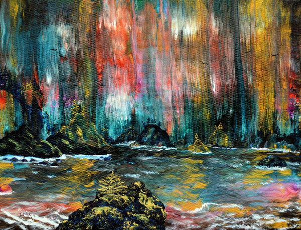 Secret Beach in the Rain Original Painting