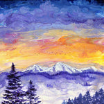 Sunset over Pacific Northwest Snowy Mountains Original Painting