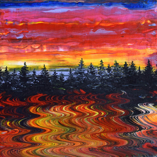 Fiery Pacific Northwest Sunset Over a Lake Original Painting Laura Milnor Iverson Official Site