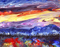 Wild Sunset in the Pacific Northwest Original Painting Laura Milnor Iverson Official Site