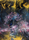 Meditation in Dark Sakura Original Painting