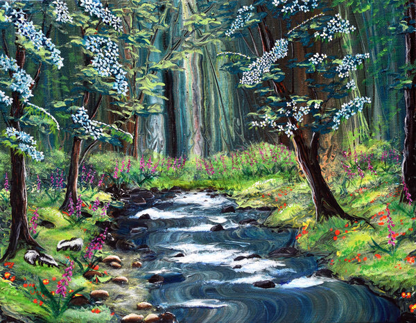 Skunks under Dogwood Trees Original Painting Laura Milnor Iverson Official Site