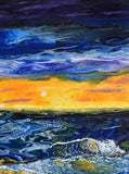 Sunset Seascape in Blue and Yellow Original Painting Laura Milnor Iverson Official Site