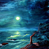 Windswept Cypress and Whale Waving Original Painting - Laura Milnor Iverson Official Site