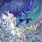 Dolphin Leaping from the Waves Original Painting - Laura Milnor Iverson Official Site