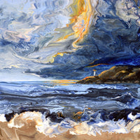 Stormy Sunset in Newport Original Painting - Laura Milnor Iverson Official Site