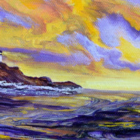 Yaquina Head Lighthouse in Purple Sunset Original Painting Laura Milnor Iverson Official Site