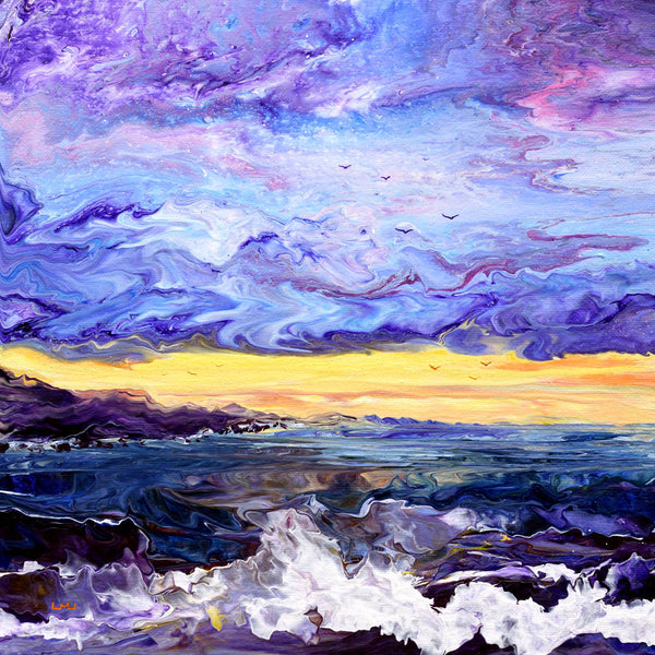 Shore at Purple Twilight Original Painting - Laura Milnor Iverson Official Site