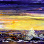Crashing Wave in Purple Twilight Original Painting - Laura Milnor Iverson Official Site