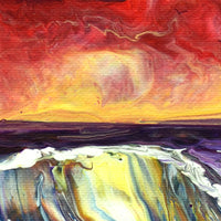 Sunset Seashore Reflections Original Painting - Laura Milnor Iverson Official Site