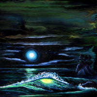 Pacific Northwest Nighttime Wave Original Painting - Laura Milnor Iverson Official Site