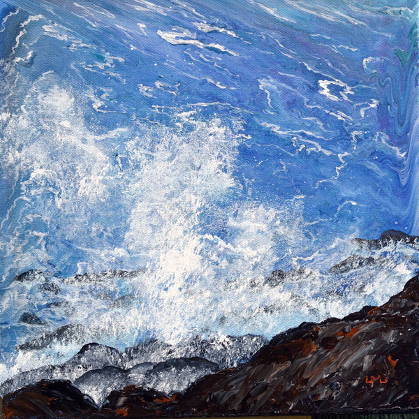 Crashing Wave at the Oregon Coast Original Painting - Laura Milnor Iverson Official Site