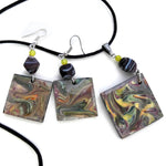 Mauve Rhapsody Original Abstract Painting on Wood Handmade Jewelry Set