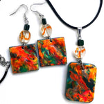 Painterly Orange and Dark Green Original Abstract Painting on Wood Handmade Jewelry Set