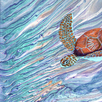 Sea Turtle Swimming By Original Painting - SOLD - Prints Available
