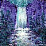 Tumalo Falls in Purple and Teal Original Painting