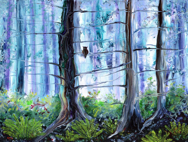 Owl in Cypress Grove Original Painting Laura Milnor Iverson Official Site
