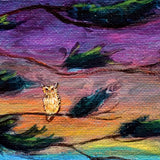 Owl in a Windswept Cypress Original Painting Laura Milnor Iverson Official Site