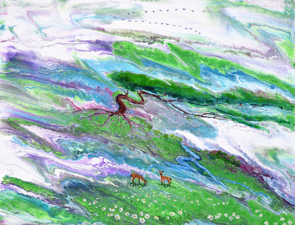 Deer in a Mystical Meadow Original Painting Laura Milnor Iverson Official Site