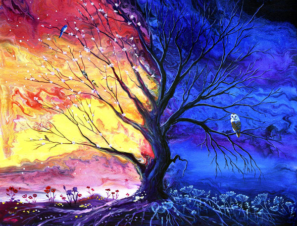 Spring and Winter Tree of Life Original Painting Laura Milnor Iverson Official Site