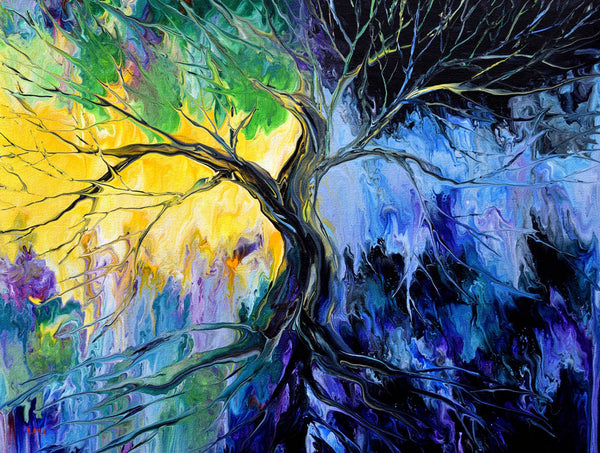 Day and Night Tree of Life Original Painting Laura Milnor Iverson Official Site