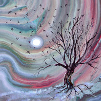 Murmuration from a Bare Tree Original Painting