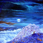 Fox in Purple Sakura Original Painting - Laura Milnor Iverson