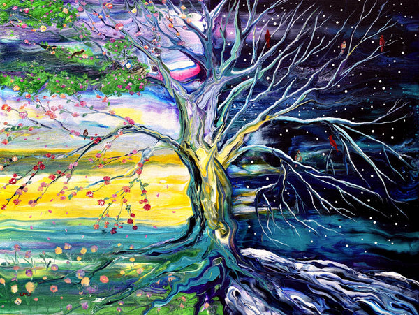 Birds in Spring and Winter Tree of Life Original Painting Laura Milnor Iverson Official Site