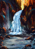 Morning at Wahclella Falls Original Painting - NFS - Prints Available